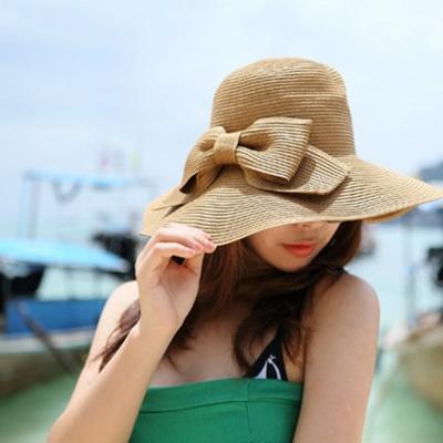 梨花HaNA 夏日海灘渡假大帽簷遮陽帽草帽二色選