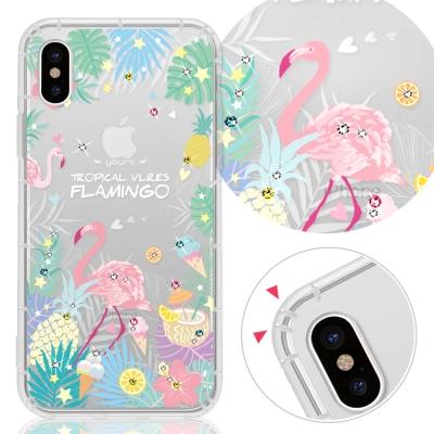 YOURS APPLE iPhone X奧地利彩鑽防摔手機殼-熱帶雨林