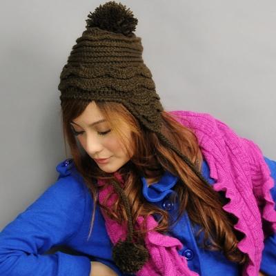 Aimee Toff 綿密蛋糕質感造型針織帽(咖)
