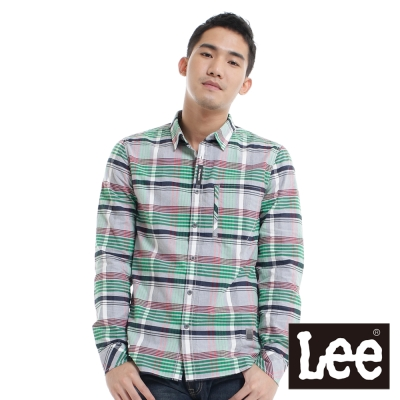 Lee 長袖襯衫 格紋隱藏拉鍊口袋-男款(灰)