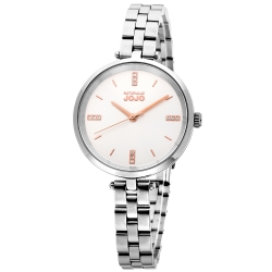 NATURALLY JOJO 簡約時刻晶鑽不鏽鋼鍊錶-銀色/玫瑰金指針-35mm