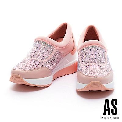 休閒鞋 AS 閃爍耀眼漸層水鑽設計厚底休閒鞋-粉