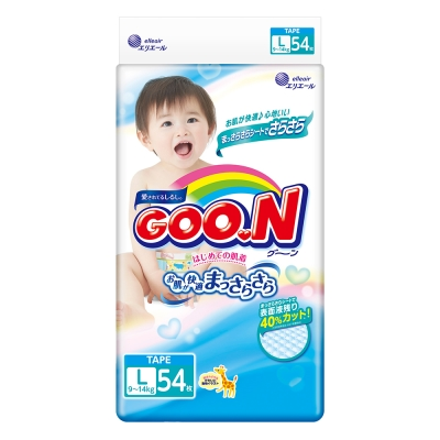 GOO.N日本大王 3D瞬吸日本境內版-黏貼型紙尿褲(L)-54片/包(新舊包裝隨機出貨)