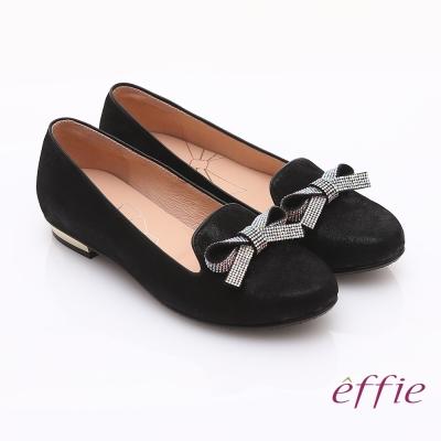 effie 輕透美型 閃耀羊皮亮鑽蝴蝶平底鞋 黑