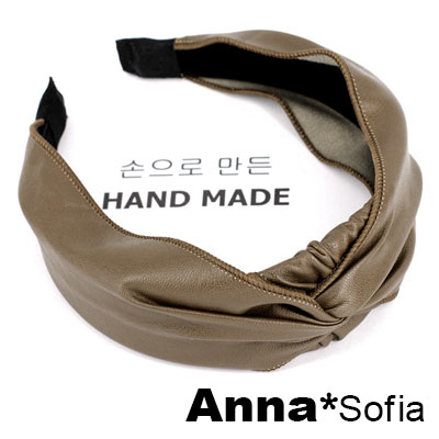 AnnaSofia 抓皺皮革璇結 韓式寬髮箍(駝系)