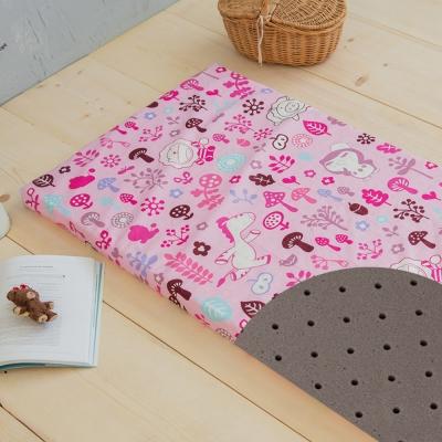 奶油獅-好朋友-平面透氣100%精梳純棉嬰兒備長碳記憶床墊-俏麗粉60*120cm