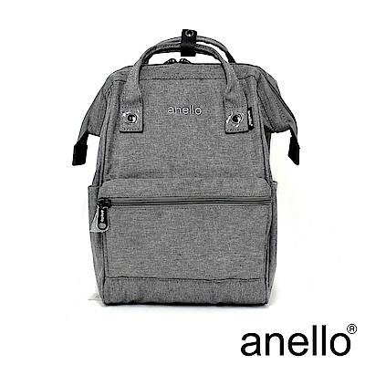 日本正版anello 高雅混色紋理 刺繡LOGO後背包〈灰色GY〉M