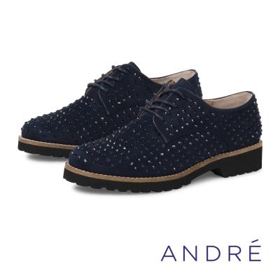 ANDRE-時髦鑽飾點綴德比平底鞋-時髦藍