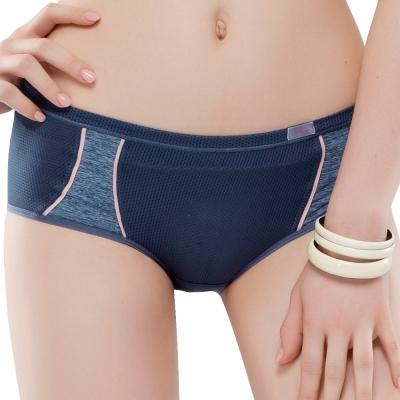 思薇爾 K.K.Fit系列M-XL素面中低腰平口內褲(靄藍色)