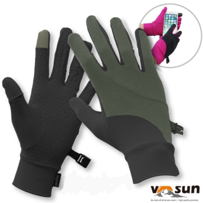 【VOSUN】台灣製 Tactel 透氣彈性抗UV觸控多功能手套_黑/灰