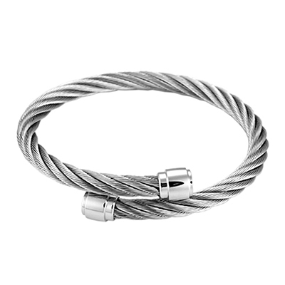 CHARRIOL 夏利豪經典徹爾斯鋼索銀色手環