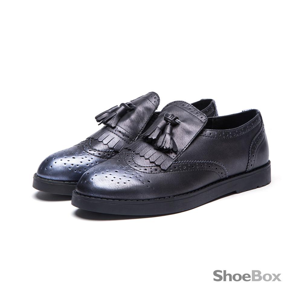 鞋櫃ShoeBox 牛津鞋-金屬仿舊刷色流蘇平底鞋1016404424-灰藍