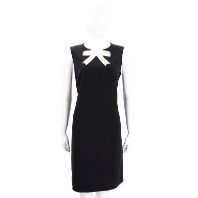 BOUTIQUE MOSCHINO 黑色透膚蝴蝶結造型無袖洋裝