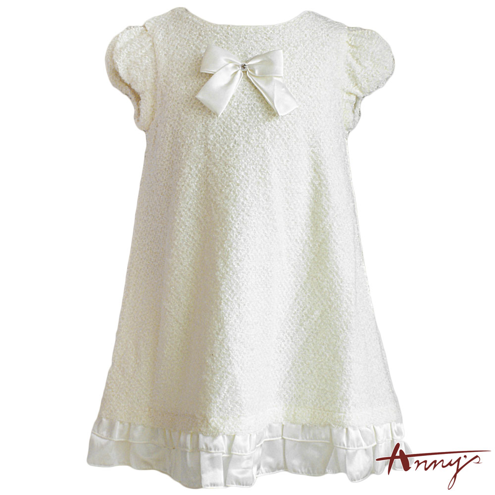 Annys優雅毛毛拼接荷葉緞質傘狀洋裝*3210米白