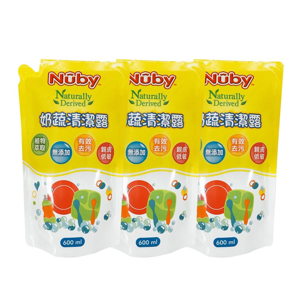 Nuby 奶蔬清潔露補充包_3包x600ml