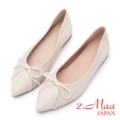 2.Maa-甜美氣質蝴蝶結尖頭平底包鞋-米