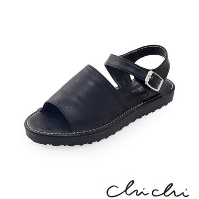 Chichi 寬帶側扣環厚底涼鞋* 黑色