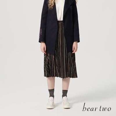 beartwo百摺幾何圖形線條長裙(兩色)-動態show