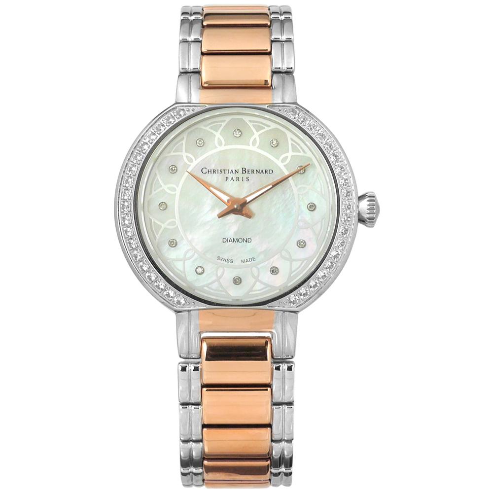 CHRISTIAN BERNARD 伯納錶 真鑽珍珠母貝不鏽鋼手錶-銀x鍍玫瑰金/33mm