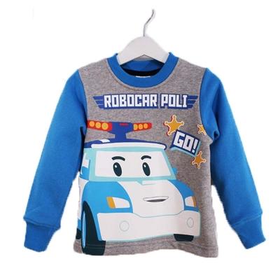 POLI波力厚磅暖絨長袖T恤-藍灰-k60311