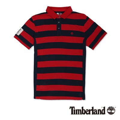 Timberland-男款暗紅色雙色拼接短袖Pol