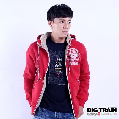 BIG TRAIN 龍魂貼合內毛絨連帽外套-男-紅色
