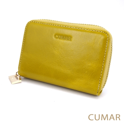 CUMAR 油蠟牛皮卡片零錢包-黃色