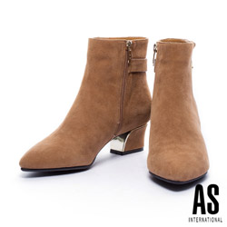 AS 流線粗低跟麂皮短靴