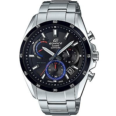 EDIFICE簡約時尚設計黑面不鏽鋼腕錶(EFB-510JDB-1A)黑面/44.3 mm