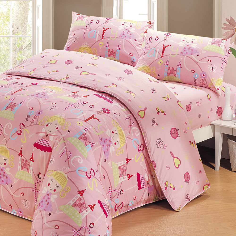 鴻宇HongYew 100%美國棉 防蹣抗菌-公主城堡 薄被套床包組 單人三件式