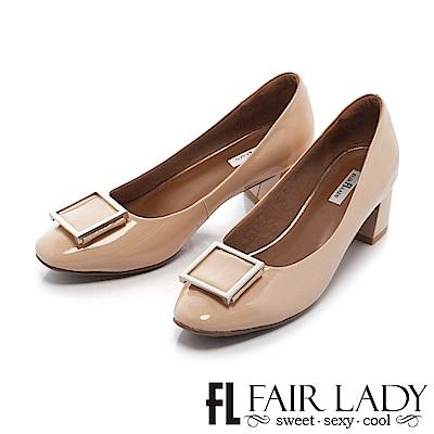 Fair Lady 優雅小姐Miss Elegant 金屬裝飾方頭粗跟鞋 鏡面粉