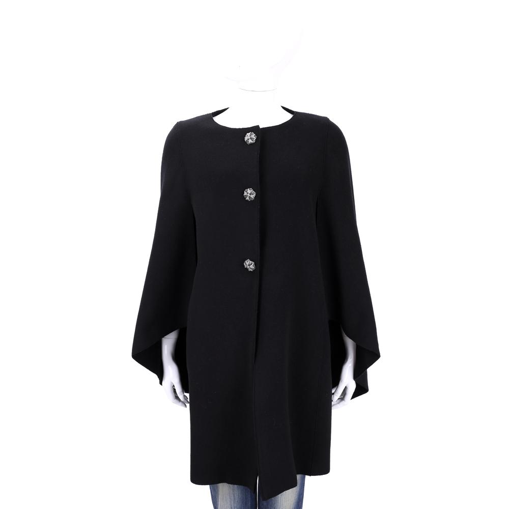 ALBERTA FERRETTI  黑色雕花鑽釦羊毛造型袖外套