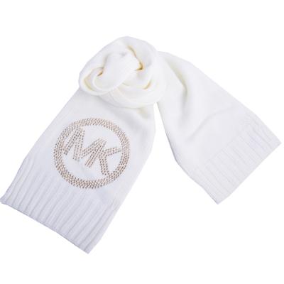 MICHAEL KORS 圓金屬鉚釘MK LOGO素面針織長圍巾-米白