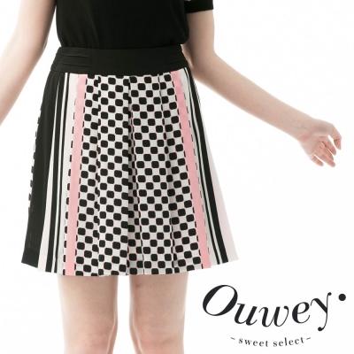 OUWEY歐薇 魔術方塊跳躍格子線條拼接裙