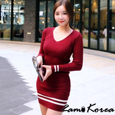 正韓 雙條紋針織坑條V領洋裝 (共四色)-2am.Korea