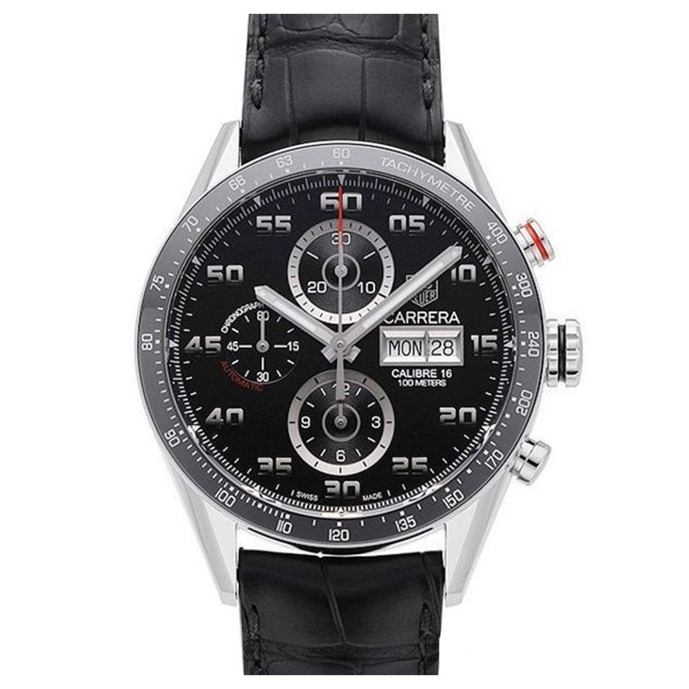 TAG HEUER 豪雅 CARRERA 系列機械計時數字皮帶款x黑43mm