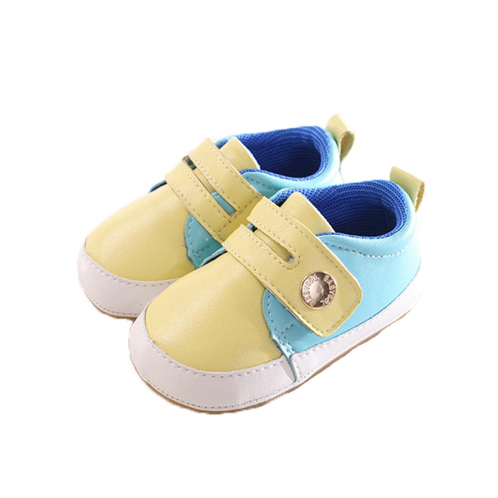 手工止滑魔鬼貼外出鞋 黃藍 sk0254 魔法Baby