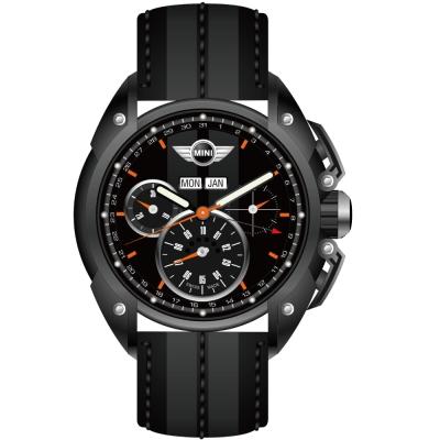 MINI Swiss Watches 熱血剽悍三眼計時腕錶-黑/皮帶45mm