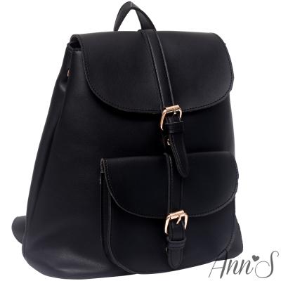 Ann'S旅遊最愛-復古素面皮革立體口袋後背包-黑
