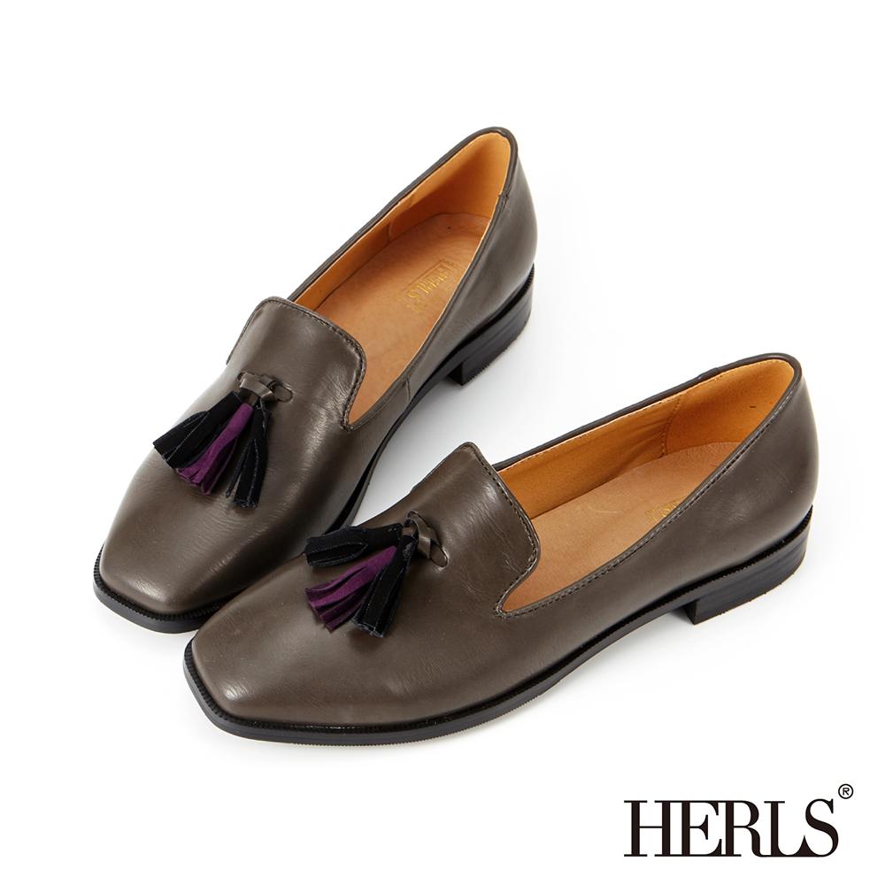 HERLS 內真皮 復古雙色流蘇方頭樂福鞋-灰色