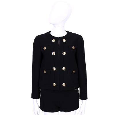 BOUTIQUE MOSCHINO 黑色字母釦飾羊毛外套