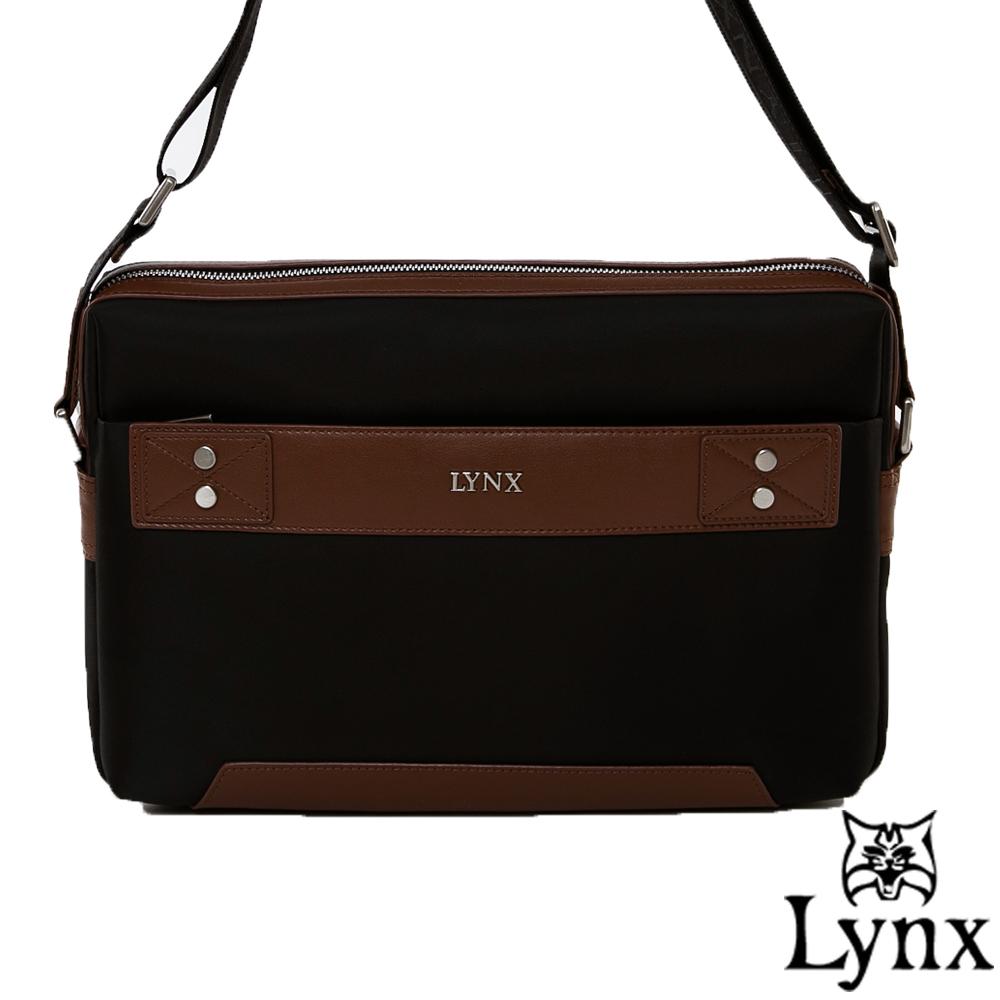 Lynx - 山貓紳士極簡風格橫式真皮斜側背包(大)-質感咖