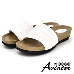Aviator韓國空運-正韓製壓紋縫線輕量厚底涼拖-白