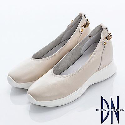 DN 都會百搭 真皮後金屬點綴楔型包鞋-米