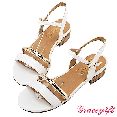 Grace gift-一字金屬細帶木紋低跟涼鞋 白