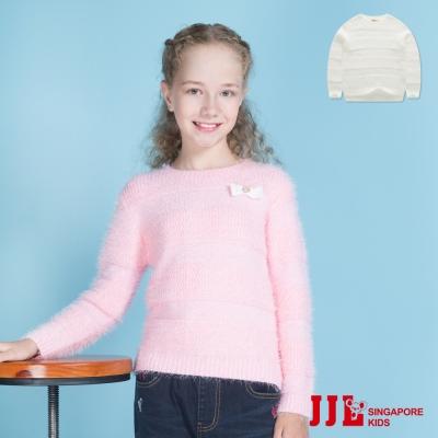JJLKIDS 甜美兔絨壓紋保暖針織毛衣(2色)