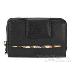 DAKS 經典格紋素面皮革拉鍊鑰匙零錢包-黑