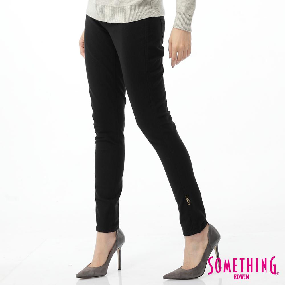 SOMETHING 窄直筒 LADIVA合身色褲-女-黑色