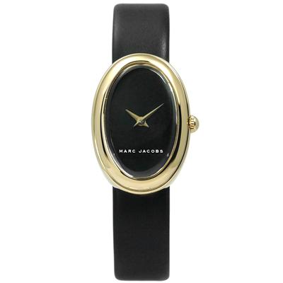 Marc Jacobs 簡約清新質樸北歐風真皮手錶-黑x金框/20mm