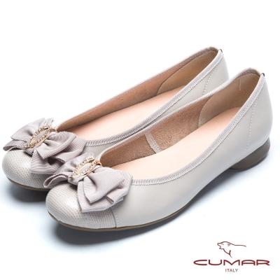 CUMAR舒適通勤 緞帶水鑽娃娃鞋-灰